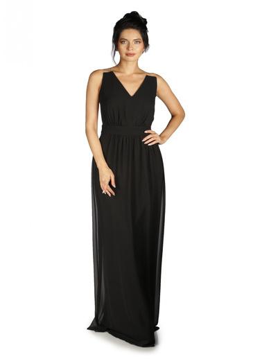 6ixty8ight Sırtı Tüllü Uzun Abiye Elbise Siyah